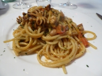 Spaghetti with baby calamari