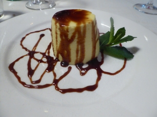 Ricotta Flan with Moscato Wine Sauce