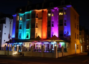 The colorful Legends Hotel and bar, Brighton