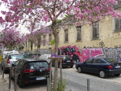 Graffiti matches the spring blossoms