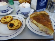 Quiche, capuccino, and of course, pastels de nata