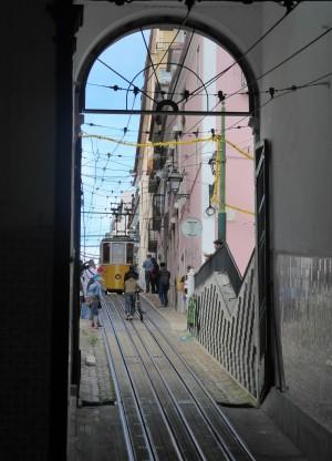 A tram navigates a steep hill