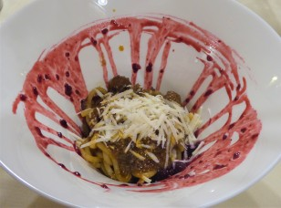 Pici pasta with venison and a wild berry sauce...