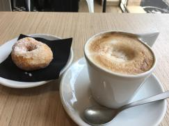 A ciambella and a cappuccino for breakfast