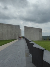 The visitor's center walkway, marking the flight path of Flight 93's final moments