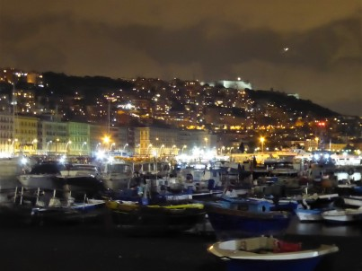 Along the Port of Mergellina by night