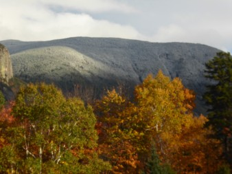 Snow on the mountains in New Hampshire