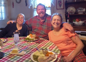 Christmas dinner... with Joanne and her sister Carol