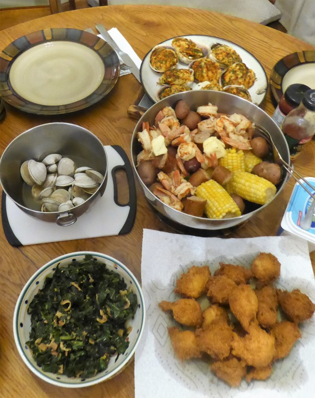 Marsha's Low Country Boil and Matt's hushpuppies