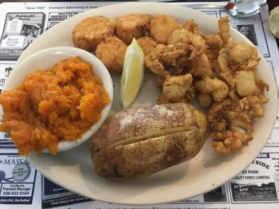 Fried clams and scallops at Cape Quality Seafood, New Bedford , Massachusetts