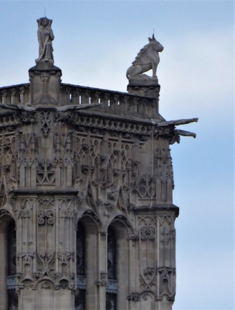One of the contemplative gargoyles atop Notre Dame