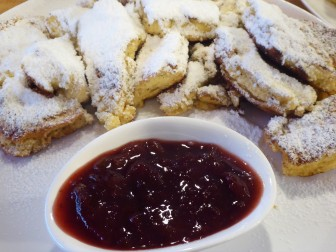 "Kaiserschmarrn, or ""shredded pancakes"" with warm plums at 15 Sweet Minutes Cafe"
