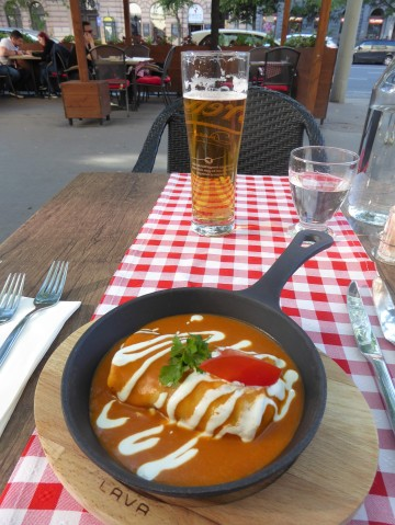 My appetizer pancake and a Hungarian beer