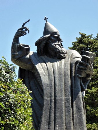 The statue of Bishop Gregory of Nin who defied the Pope and insisted that services be held in Croatian, not Latin