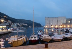 Night falls over the harbor