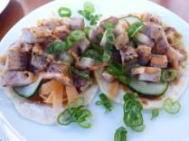 Pork belly open-faced tacos