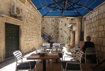 The peaceful, shaded terrace at Azur