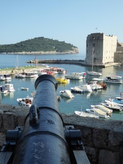 Cannon pointed at the harbor from the hills above...