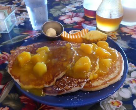 Mango Pancakes at Pele's Kitchen