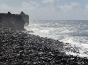 Lava flows halted at the coastline