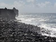 Lava flows halted at the coastline