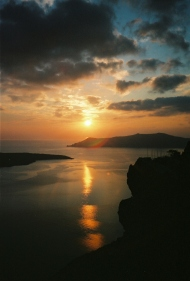 A beautiful sunset awaits every evening on Santorini