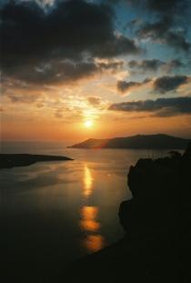 A beautiful sunset awaits every evening on Santorini