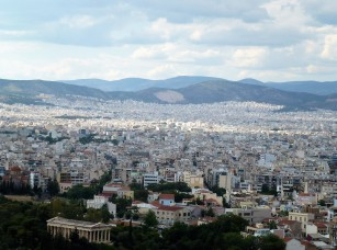 Athens spreads like a carpet as far as the eye can see