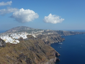 Looking back toward Fira