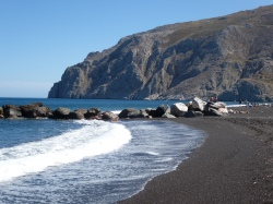 One of the black sand beaches on the southeastern side of Santorini
