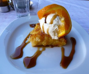 The amazingly delicious orange pie at Scirroco