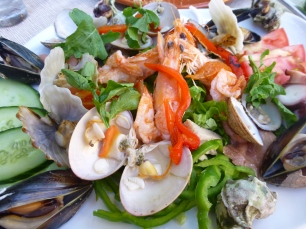 A colorful seafood salad