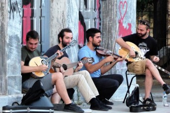 Street musicians in Athens