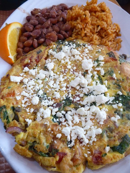 Frittata, beans and rice
