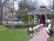 Candy-cane lined walkways on the Square