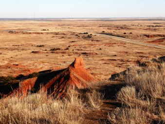 Oklahoma badlands from the top of the mesa