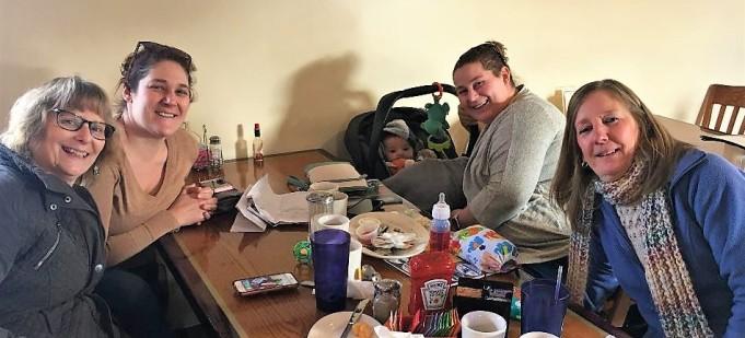 breakfast with Brenda, Melissa, Hunter, Megan and Carol-Lynn